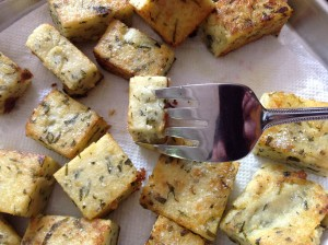 Fried Polenta and Kale Croutons (Milho com Couves Frito)