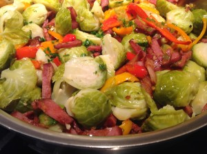 Brussel Sprouts with Chourico (Couve-de-bruxelas com Chouriço)