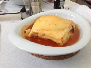 Layered Meat, Sausage Egg and Cheese Sandwich (Francesinha)
